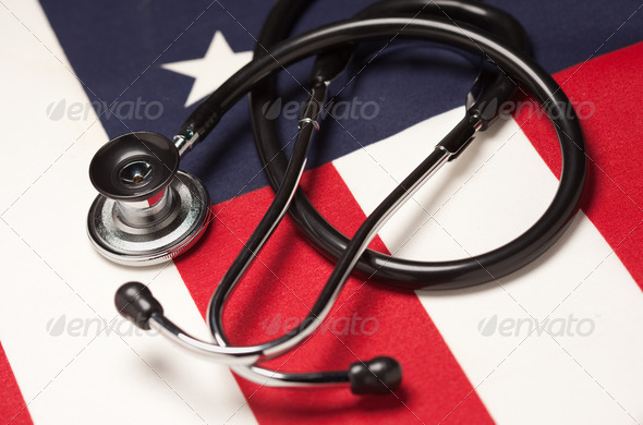 Stethoscope on American Flag - Stock Photo - Images