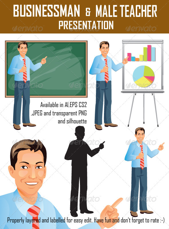 Businessman Presentation - People Illustrations