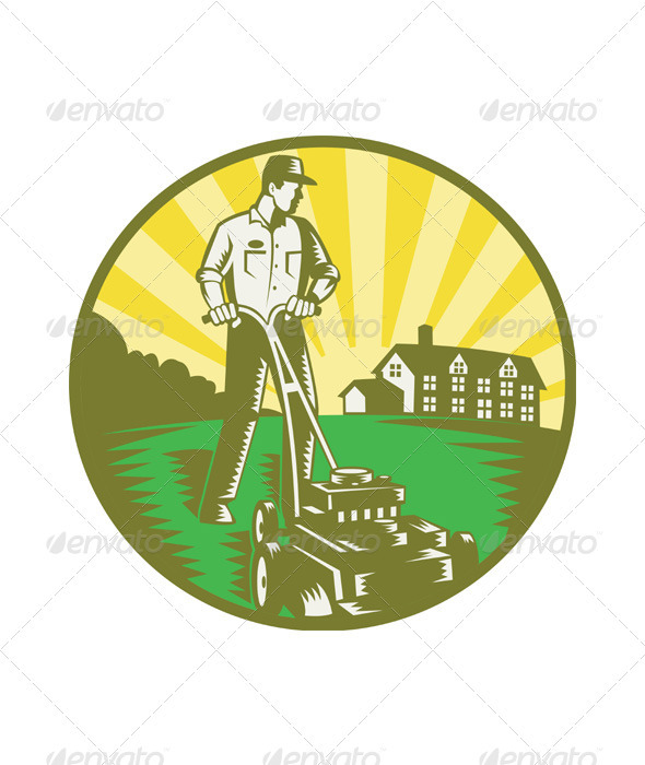Gardener Mowing Lawn Mower Retro - People Characters