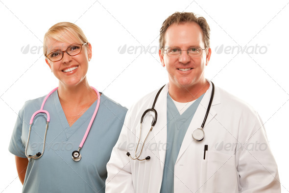 Smiling Male and Female Doctors or Nurses - Stock Photo - Images