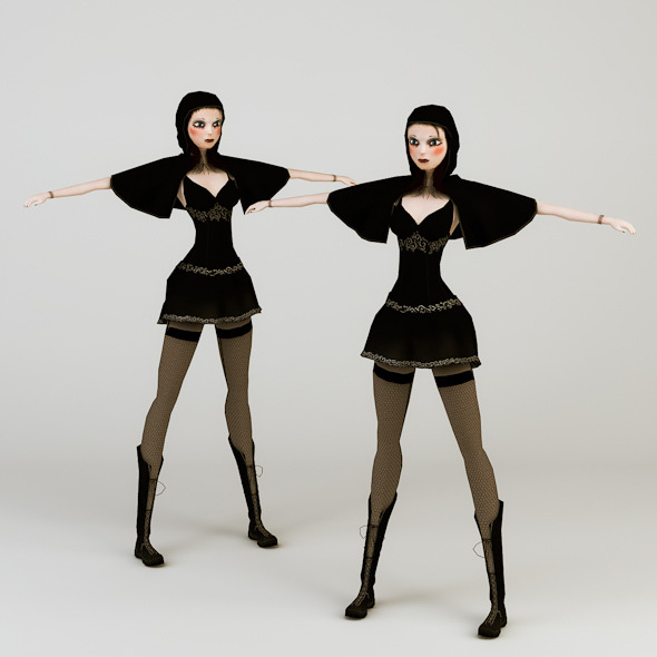 Gothic Girl Low Poly - 3DOcean Item for Sale