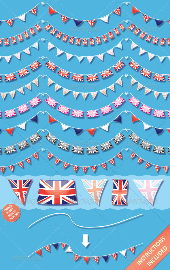 GraphicRiver Union Jack Bunting Brushes and Ready-Made Objects 2363668