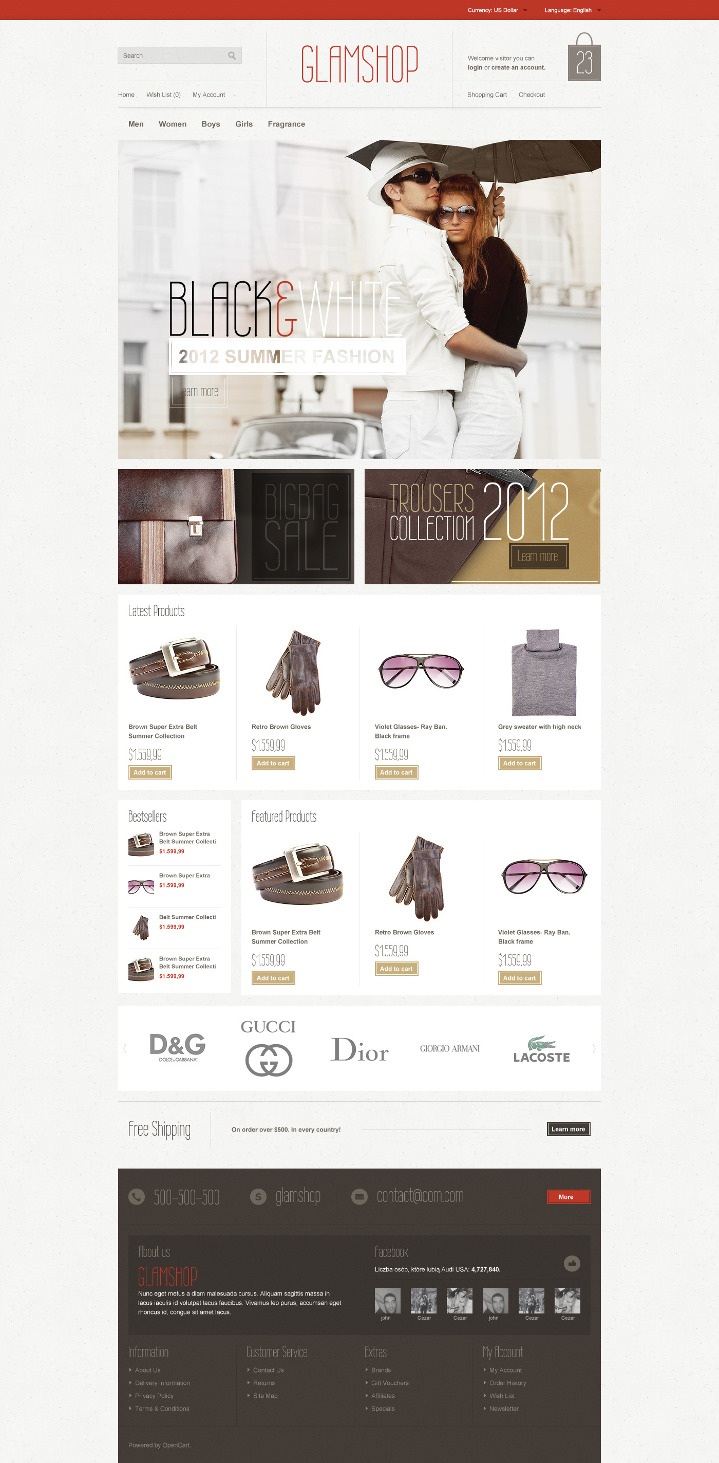 GlamShop Modern OpenCart Theme