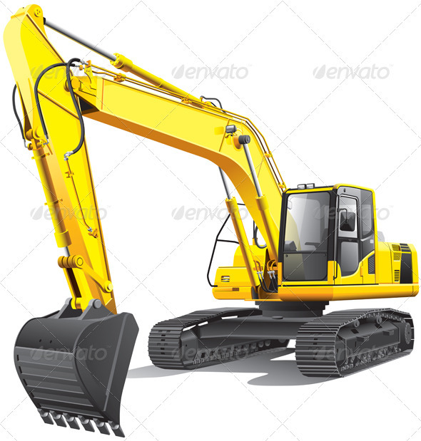 Large Excavator - Objects Vectors