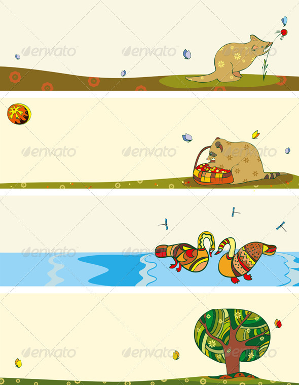 Banner Set Animals Horizontal - Seasons/Holidays Conceptual