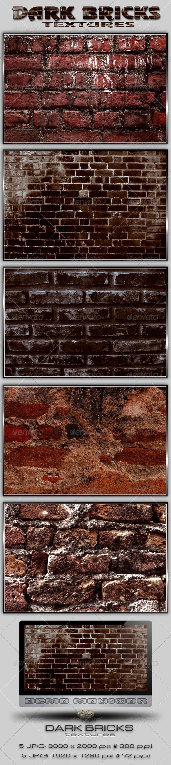 Dark Old Bricks Textures GraphicRiver - Textures -  Industrial / Grunge 2376089