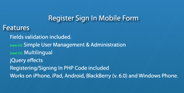 CodeCanyon Register Sign In Mobile Form 1215945