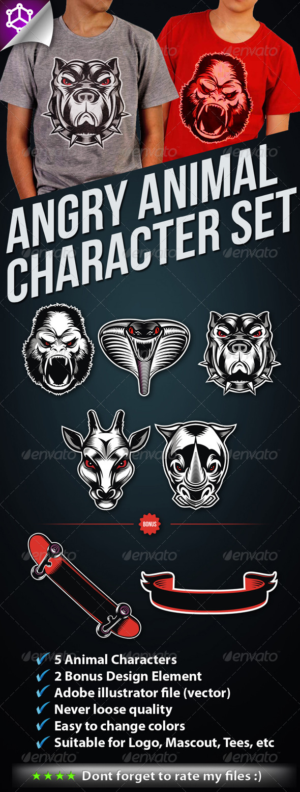 5 Angry Animal Character Set - Animals Characters