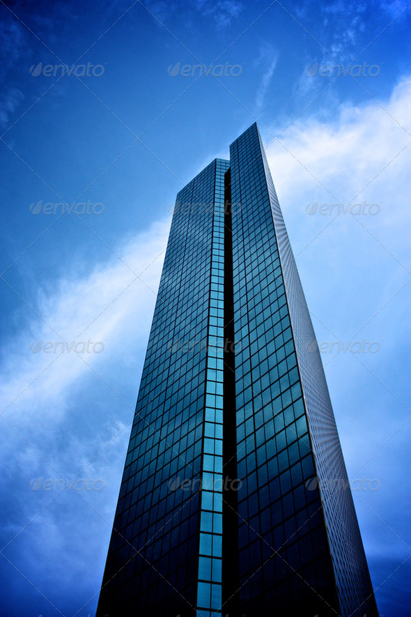 Tall Blue Skyscraper - Stock Photo - Images