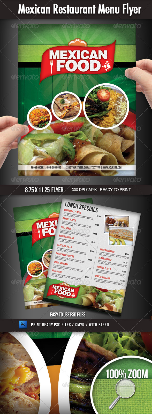 Mexican Restaurant Menu Flyer  - Food Menus Print Templates