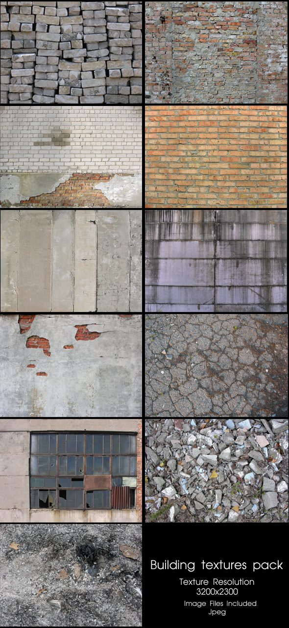 Building textures pack - 3DOcean Item for Sale