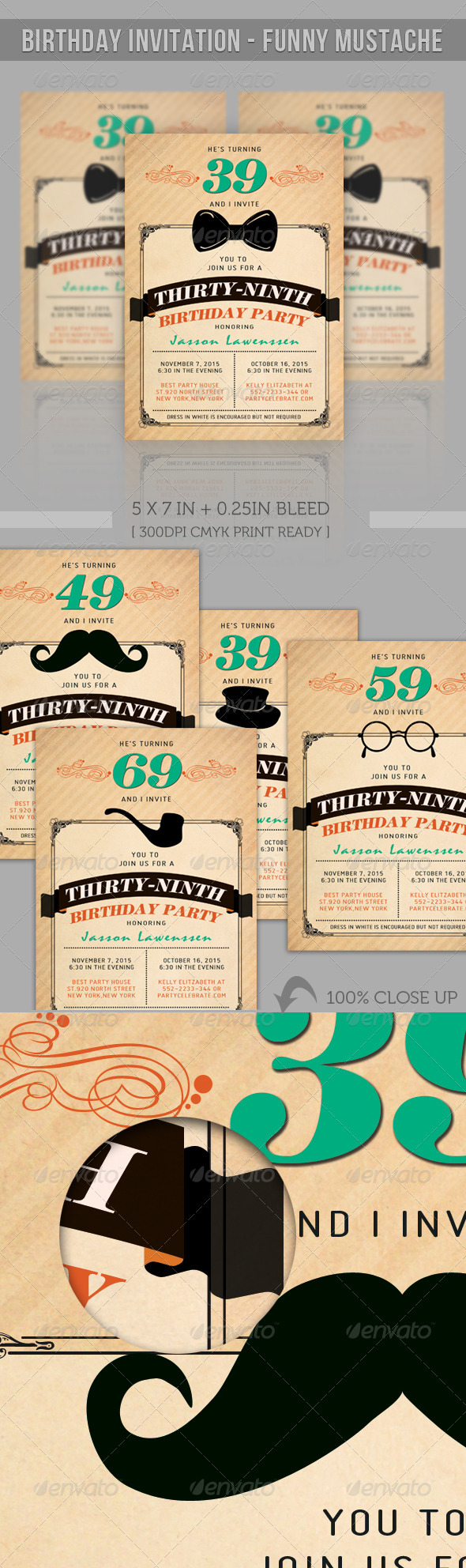 Birthday Greeting Card - Funny Mustache - Birthday Greeting Cards