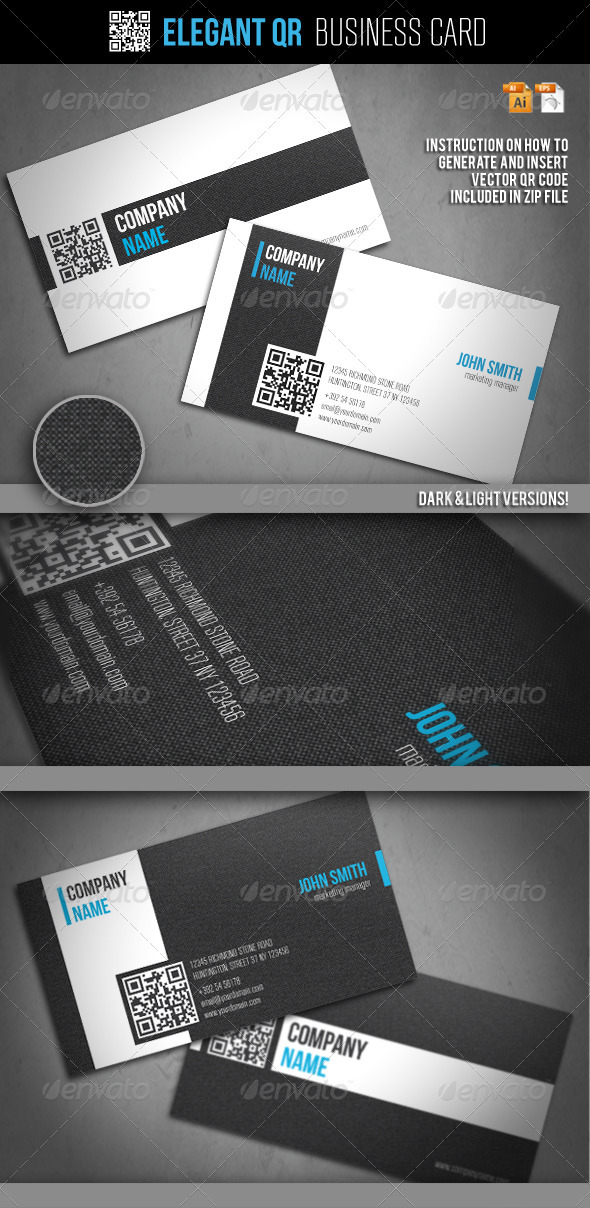 Elegant QR Business Card - Business Cards Print Templates