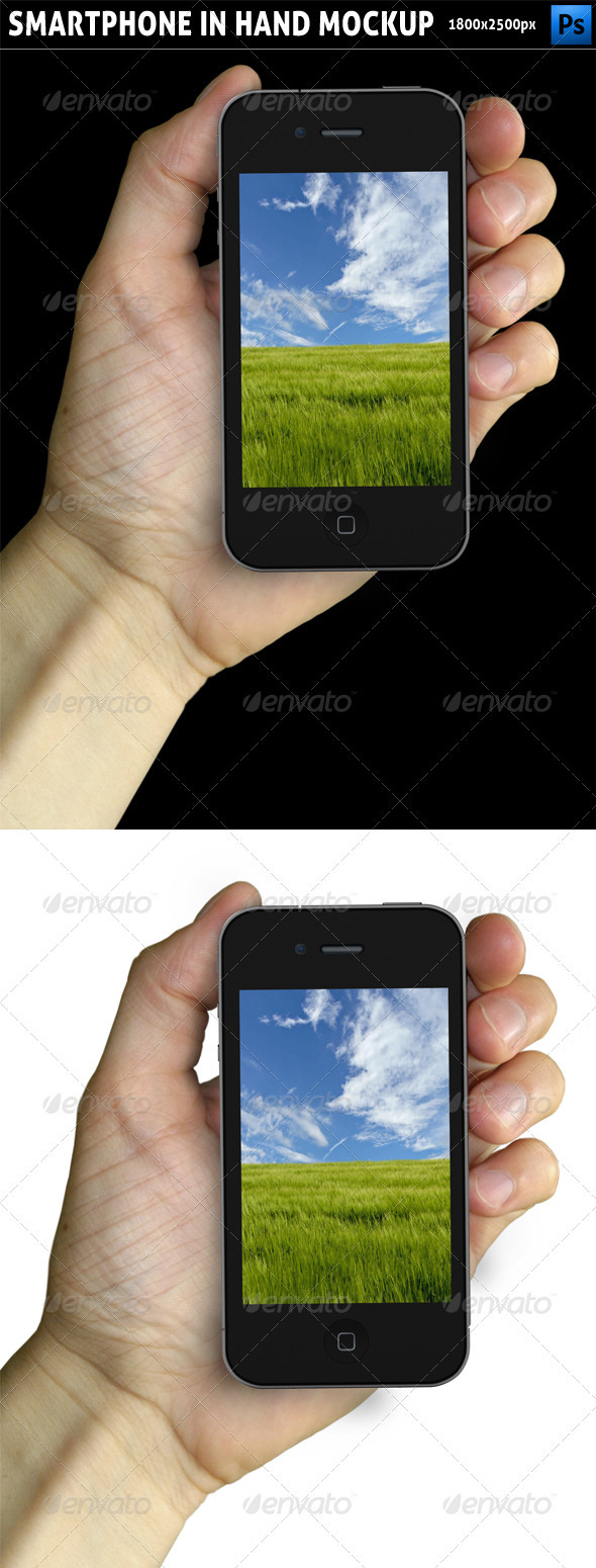 Smartphone in Hand Mockup - Mobile Displays