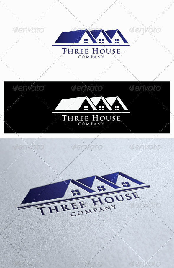 Logo Three House Company - Buildings Logo Templates