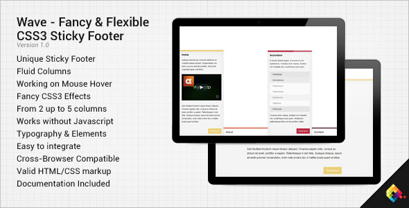Wave - Fancy CSS3 Flexible Sticky Footer - CodeCanyon Item for Sale