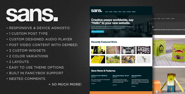 ThemeForest Sans A Responsive Portfolio WordPress Theme 2390498