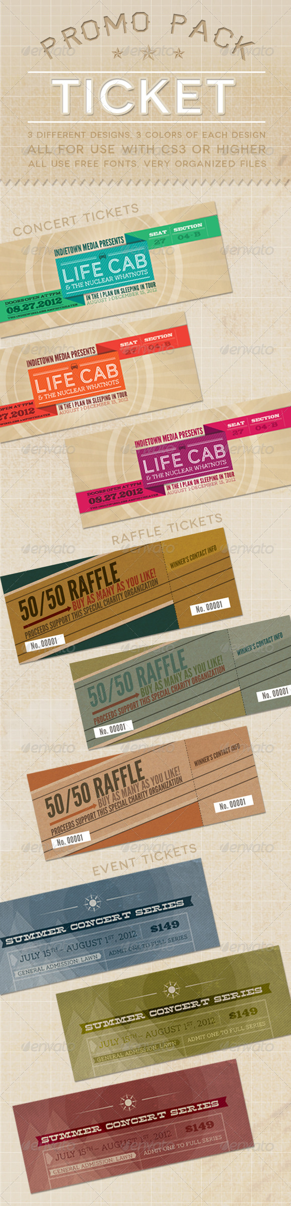 Ticket Promo Pack - Miscellaneous Print Templates