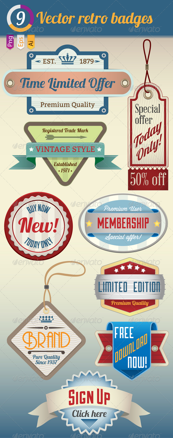 Retro Vintage Badges set - Web Elements Vectors