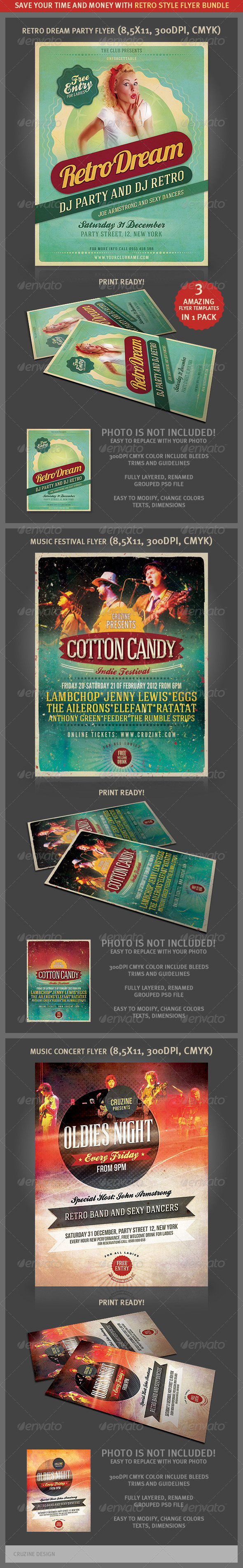Retro Style Flyer Bundle 2 - Events Flyers