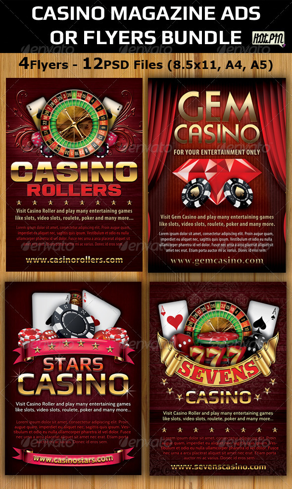 Casino Magazine Ads-Flyers Template Bundle - Flyers Print Templates