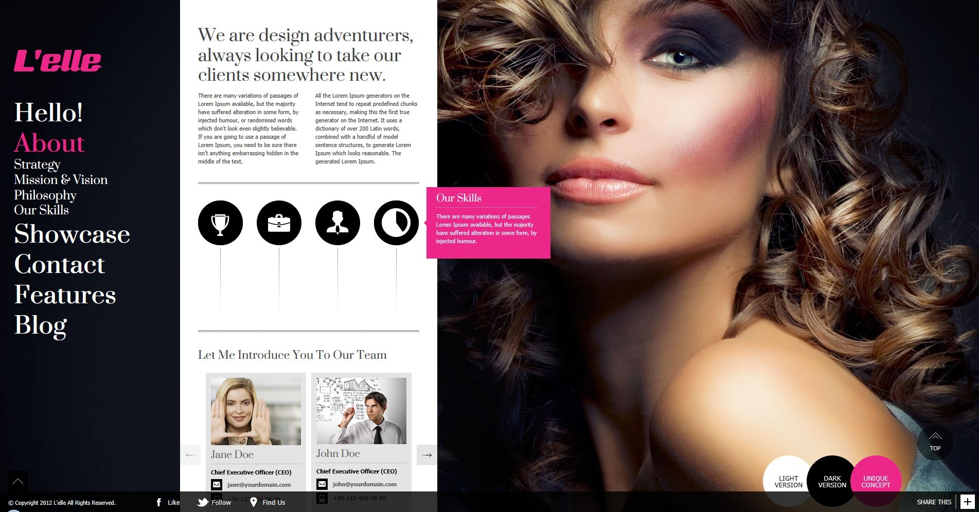 L'elle Creative Agency Showcase - about us section overall view + subitem buttons with tooltip appear