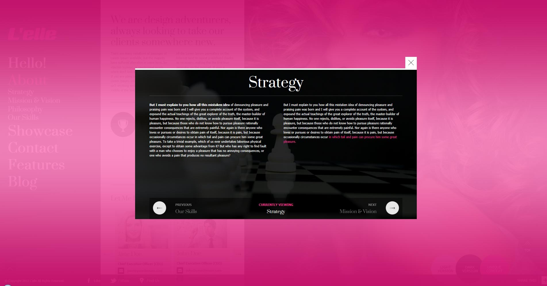 L'elle Creative Agency Showcase - aboutus overlay strategy content opened