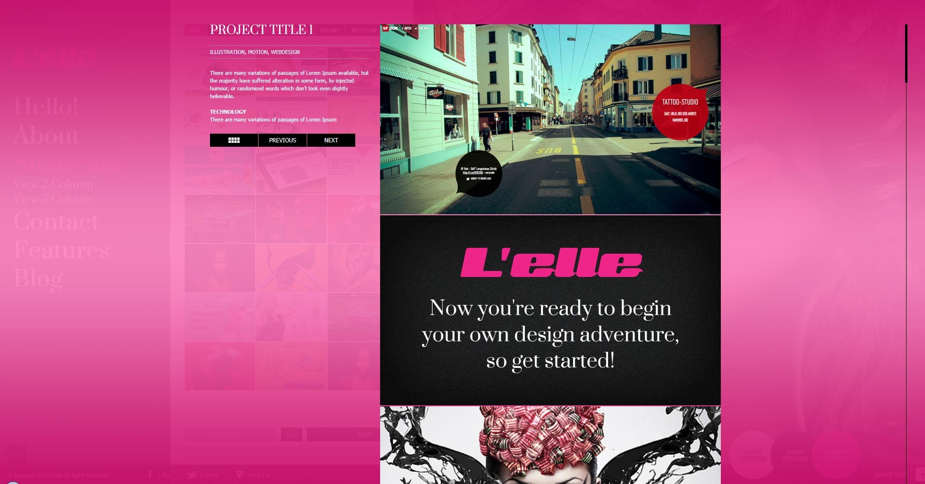 L'elle Creative Agency Showcase - showcase overlay item detail content opened