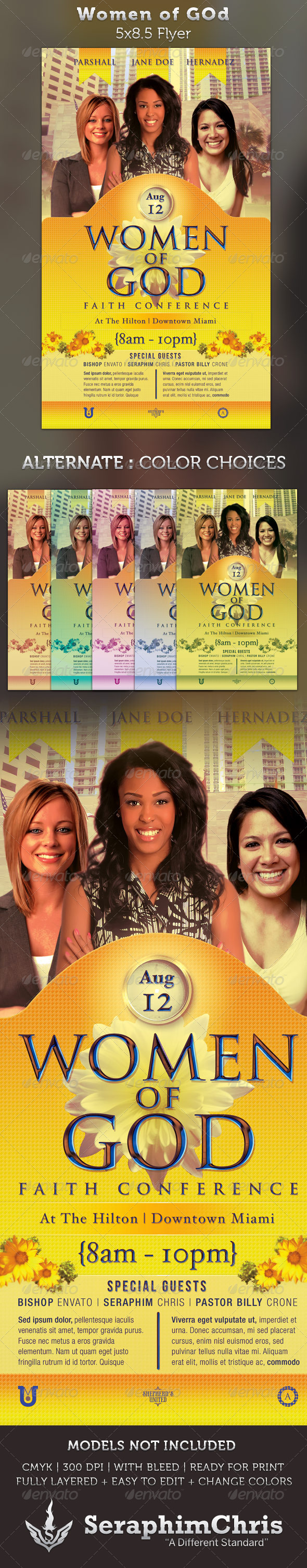 Women of God Faith Conference 5x8.5 Flyer Template - Church Flyers