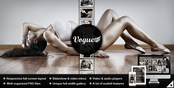 Vogue PSD — Responsive Fullscreen Photo Template - Photography Creative