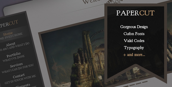ThemeForest Papercut One Page Portfolio Template 2379597