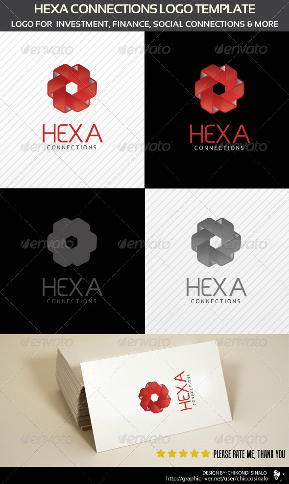 Hexa Connection Logo Template  - Letters Logo Templates