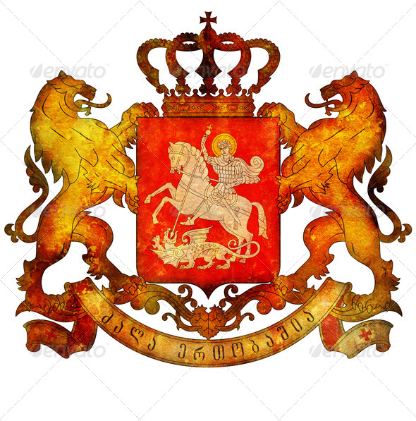 national emblem of georgia - Stock Photo - Images