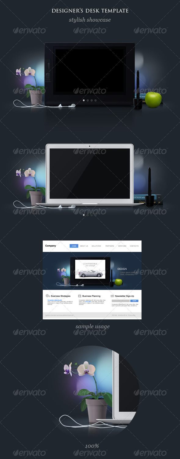 LCD Graphics Tablet and Laptop Mock Up - Multiple Displays