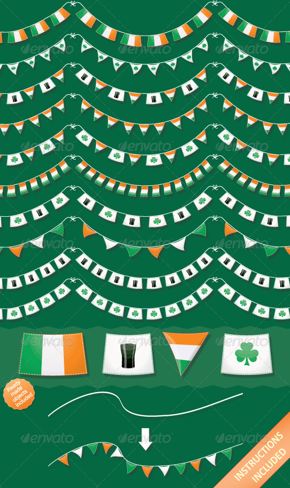 St Patrick's Day Bunting Brushes & Vector Objects - Brushes Illustrator