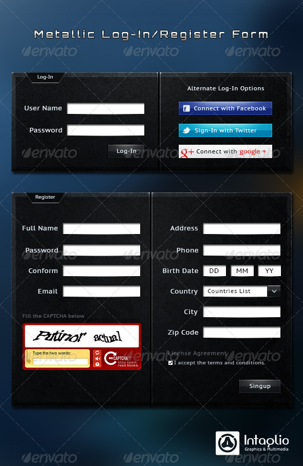 Metallic Log-In / Registration Form - Forms Web Elements