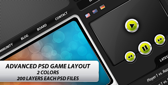 Advanced Game PSD Layout - Clan website - Entertainment PSD Templates