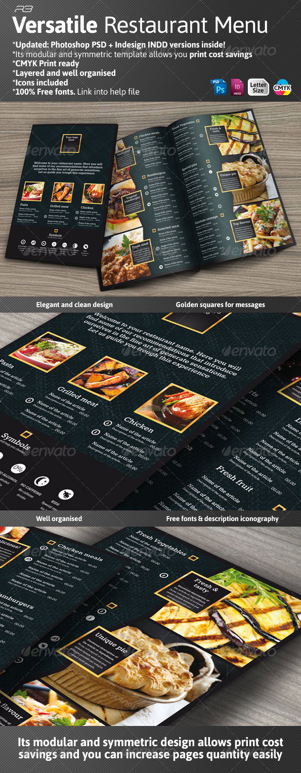 Black and Gold Menu Template - Food Menus Print Templates