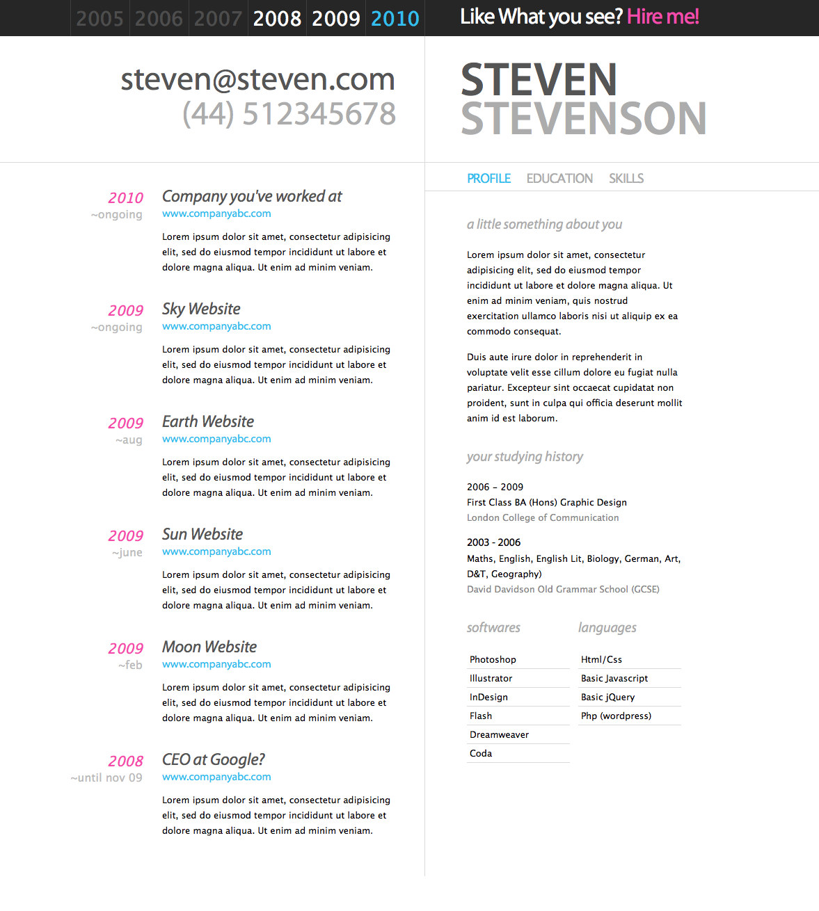 awesome  clean and stylish html resume and cv designs  u2013 blogoftheworld