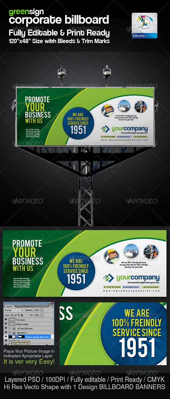 GreenSign Corporate Billboard Sinage - Signage Print Templates
