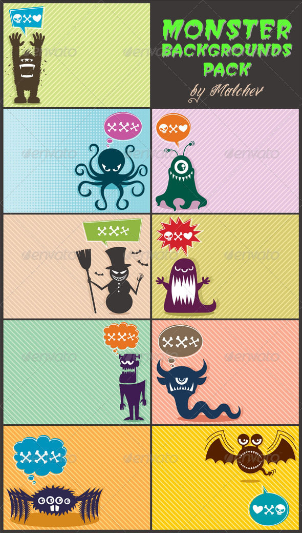 Monster Backgrounds Pack - Backgrounds Decorative