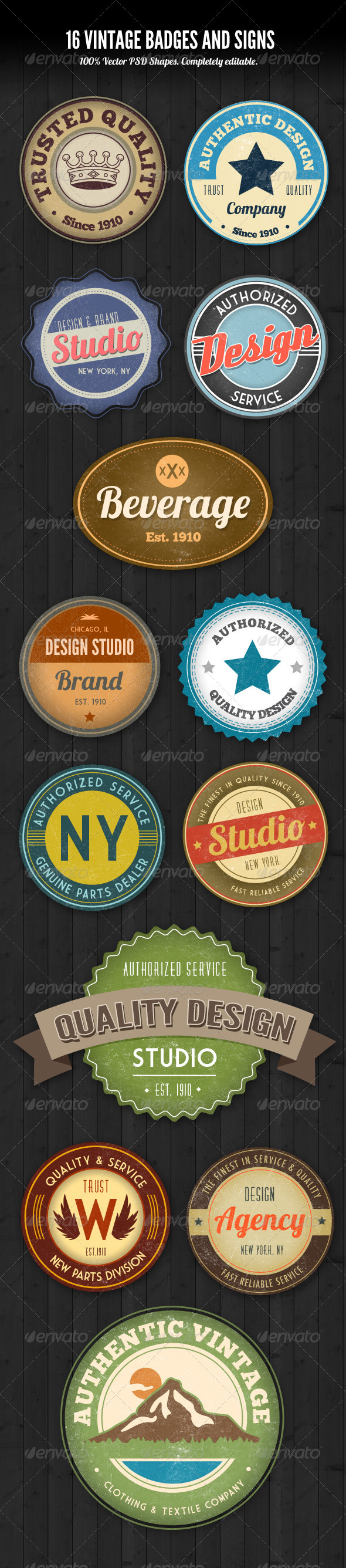 PSD Vintage Style Badges and Logos  - Badges & Stickers Web Elements
