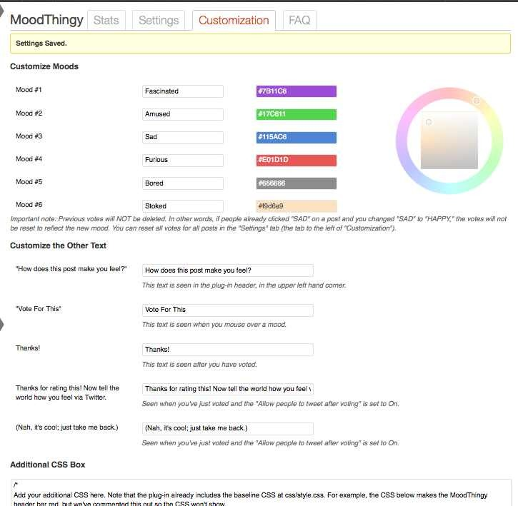 MoodThingy Mood Rating Widget for WordPress PRO