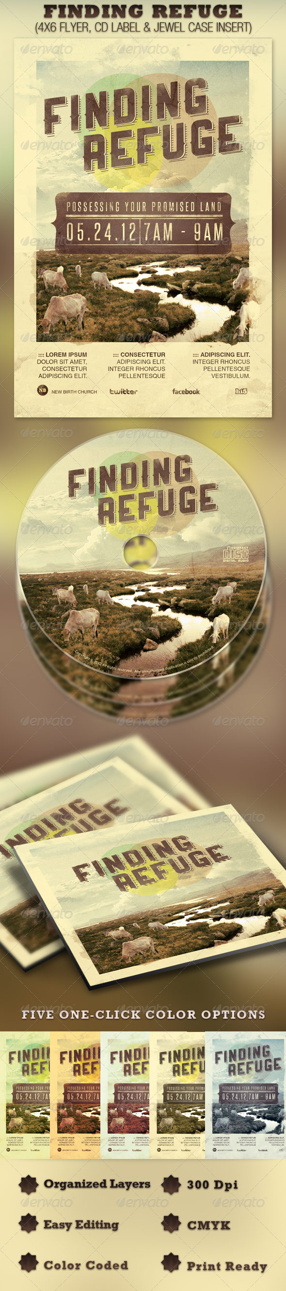 Finding Refuge Flyer and CD Template - Church Flyers