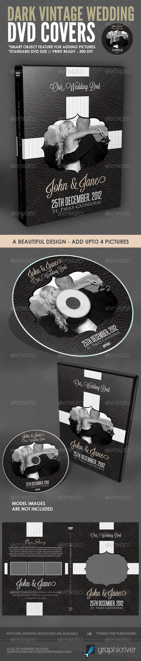 Dark Vintage Wedding DVD Cover Template - CD &amp; DVD artwork Print Templates