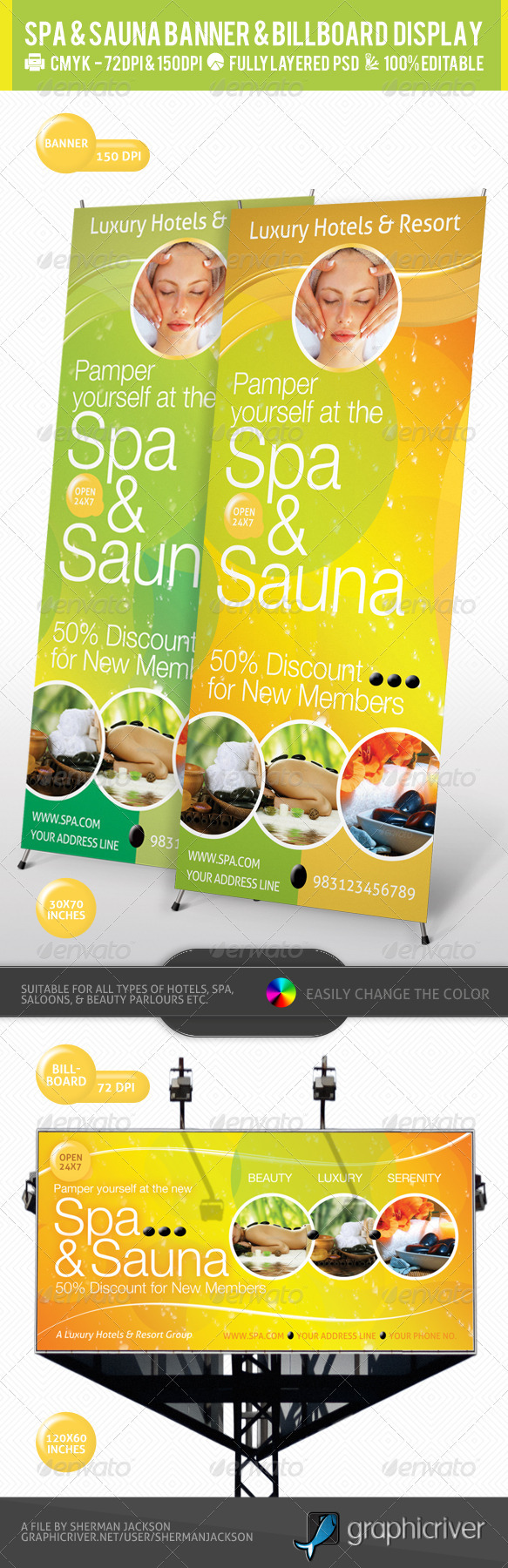Spa & Sauna Multipurpose Banner & Billboard PSD - Signage Print Templates