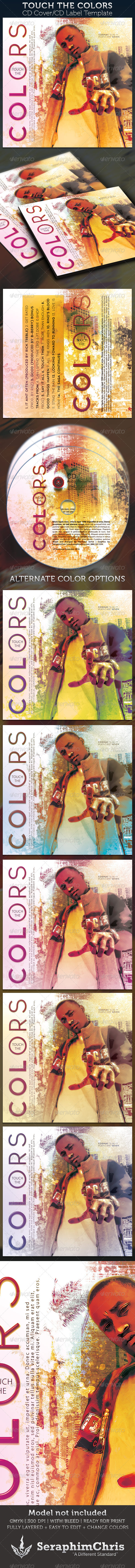Touch The Colors CD Cover Artwork and Label - CD & DVD artwork Print Templates