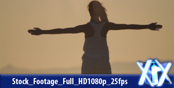 [VideoHive 2417624] Woman Exercising On Beach | Stock Footage