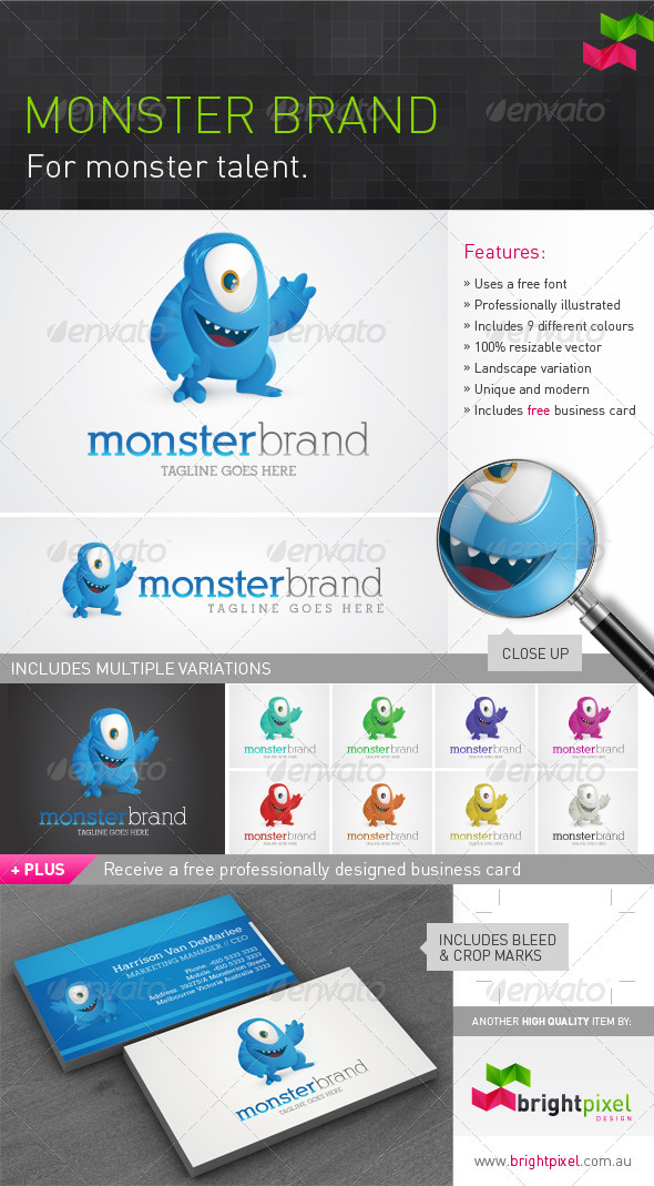 Monster Brand Logo Design - Animals Logo Templates