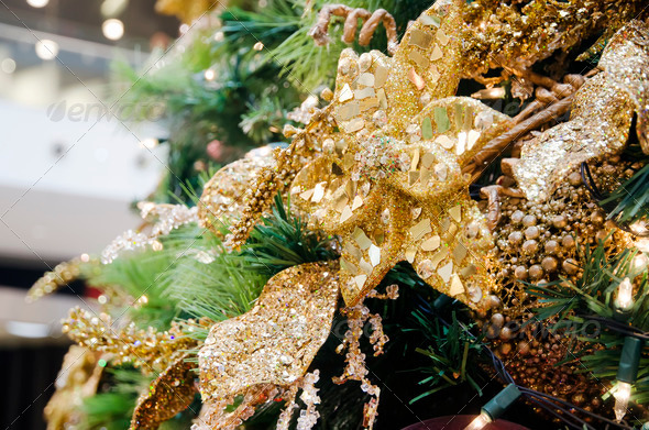 Golden Christmas Ornament - Stock Photo - Images